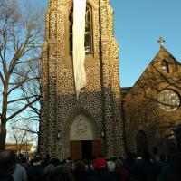 MONTCLAIR: Marchers gather outside St. James, Upper Montclair. PHOTO COURTESY FRAN LIPINSKI