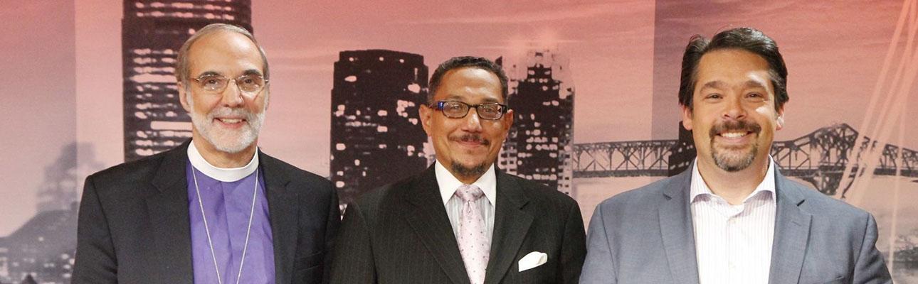 Bishop Mark Beckwith, Imam W. Deen Shareef and  Rabbi Matthew Gerwitz. PHOTO COURTESY NJTV
