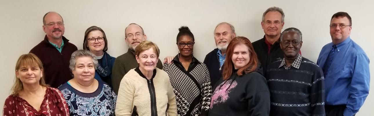 The Alleluia Fund Committee. Front row, l-r: The Rev. Ellen Kohn-Perry, Armantina Palaez, Martha Anderson, the Rev. Cathie Studwell and Sidney King. Back Row, l-r: Mark Trautman, the Rev. Debra Brewin-Wilson, Kirk Petersen, Paula Cappel, Michael Otterburn, Arnie Peinado and John King. (Not pictured: The Rev. Laurie Wurm) JANE JUBILEE PHOTO
