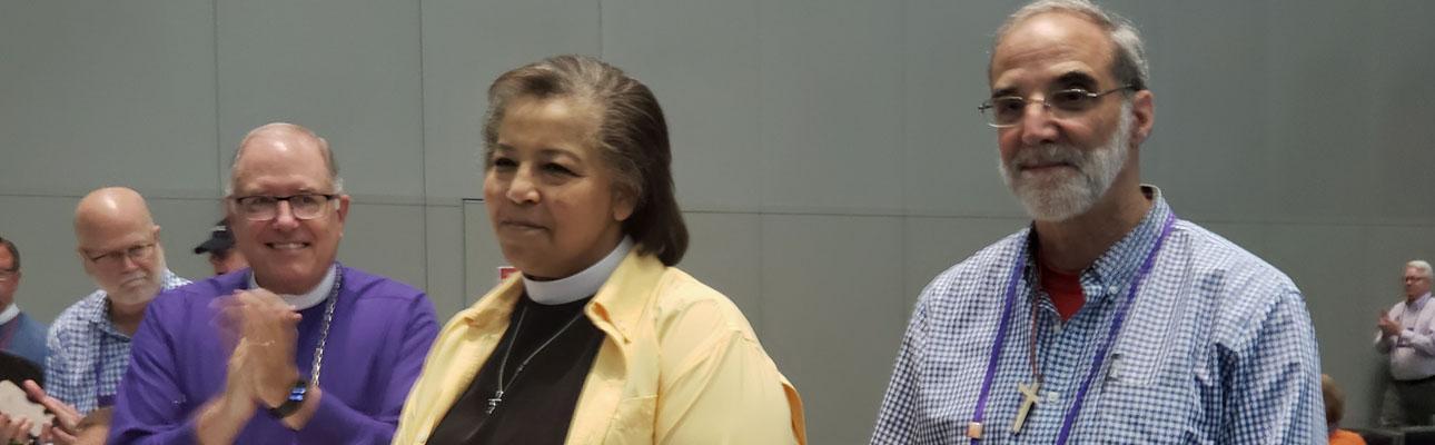Bishop-elect Carlye Hughes and Bishop Mark Beckwith at General Convention