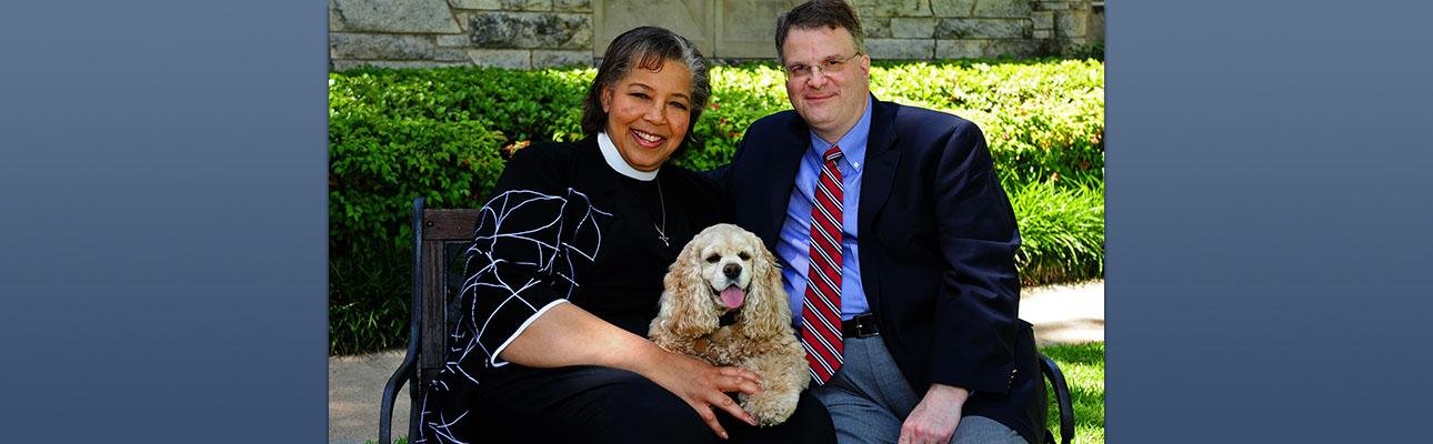 Bishop-elect Carlye Hughes, her husband David Smedley, and their dog Abbey.