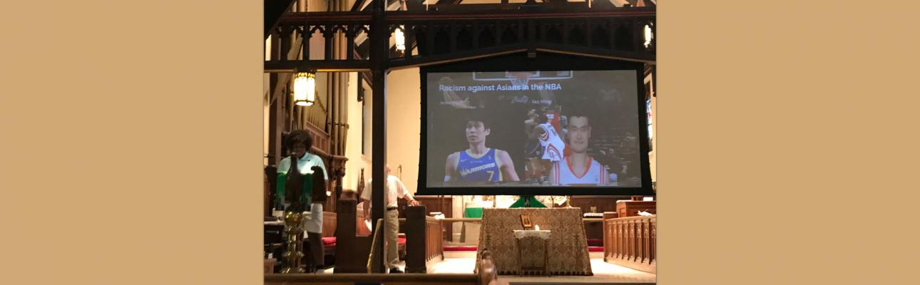 A Confirmand at Atonement, Tenafly gives a presentation about racism in the NBA as part of his Confirmation project. PHOTO COURTESY LYNNE BLEICH WEBER