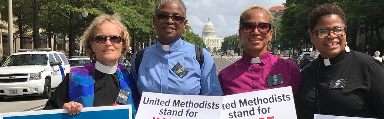 The Rev. Diana Wilcox with Methodist clergy at the 1000 Ministers March For Justice in Washington, D.C. PHOTO COURTESY DIANA WILCOX