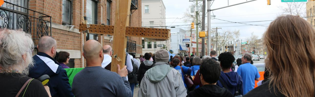 Stations of the Cross at the sites of violent crimes in Jersey City. NINA NICHOLSON PHOTO