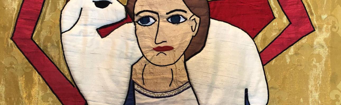 Tapestry depicting the Good Shepherd