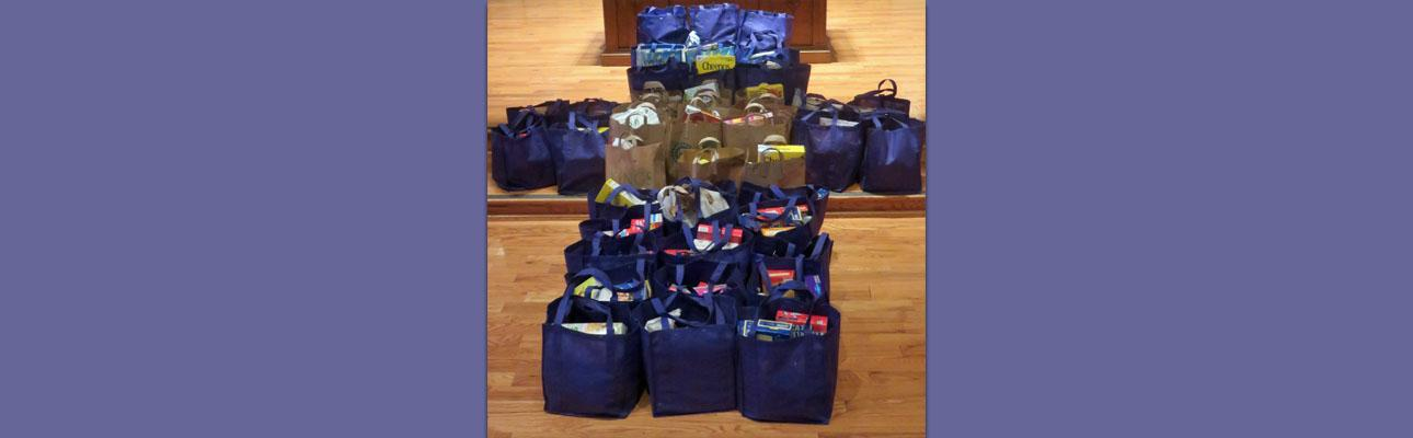 "48 sacks of nutritious food staples donated to local Maplewood/South Orange food pantries through St. George's ""Pack the Sack"" Lenten program. DAN MITCHELL PHOTO"