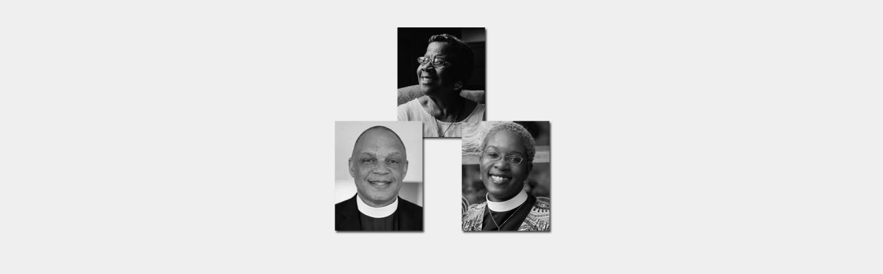 Clockwise from top: Dr. Catherine Meeks, Diocese of Atlanta; The Rev. Charles Wynder, Jr., Diocese of New Hampshire; The Rev. Canon Stephanie Spellers, Diocese of New York