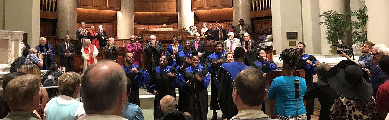The gospel choir of Howard University sings at the opening service of the Reclaiming Jesus witness in Washington, D.C. DIANA WILCOX PHOTO