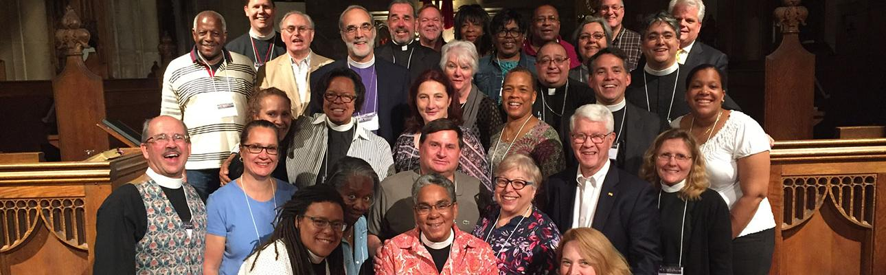 The Bishop Search/Nominating and Transition Committees and members of the Standing Committee with Bishop Mark Beckwith and the Rev. Thad Bennett and the Rev. Kim Jackson, consultants from The Episcopal Church.