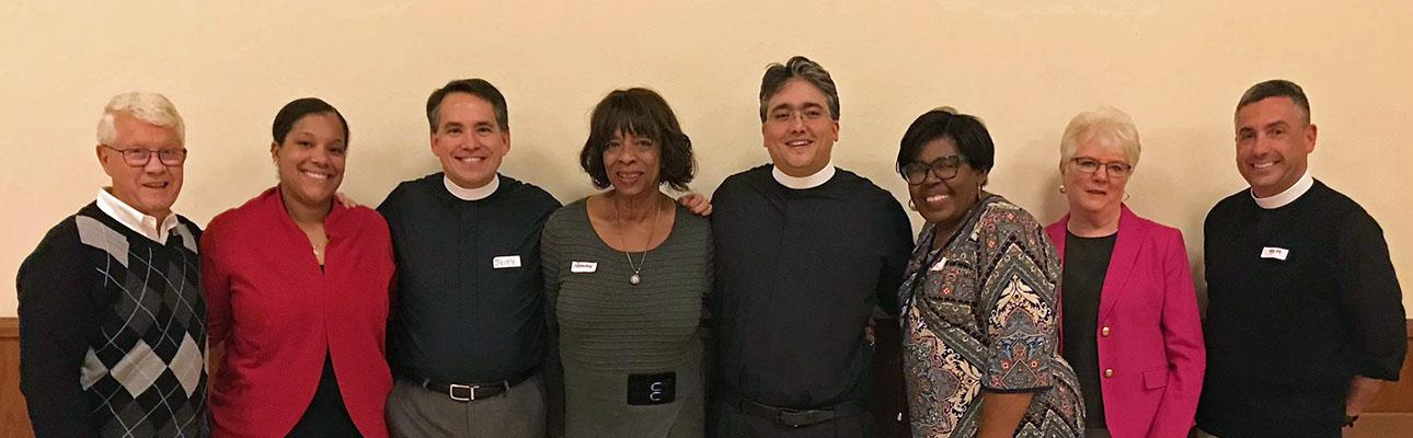 Eight members of the Bishop Search/Nominating Committee (l-r): Bernard Milano, Trinity, Allendale; Janelle Grant, St. Paul's, Paterson; the Rev. Jerry Racioppi, Holy Spirit, Verona (Co-Chair); Patrice Henderson, St. Andrew & Holy Communion, South Orange; the Rev. Tom Mathews, Christ Church, Ridgewood; Michele Simon, St. Paul's, Englewood (Co-Chair); Geraldine Livengood, Christ Church, Newton; the Rev. Thomas Murphy, St. Paul's, Jersey City.