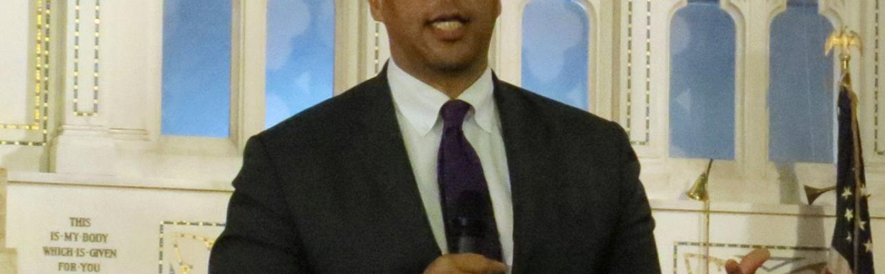Senator Cory Booker speaking at the Town Hall at Christ Church, East Orange.