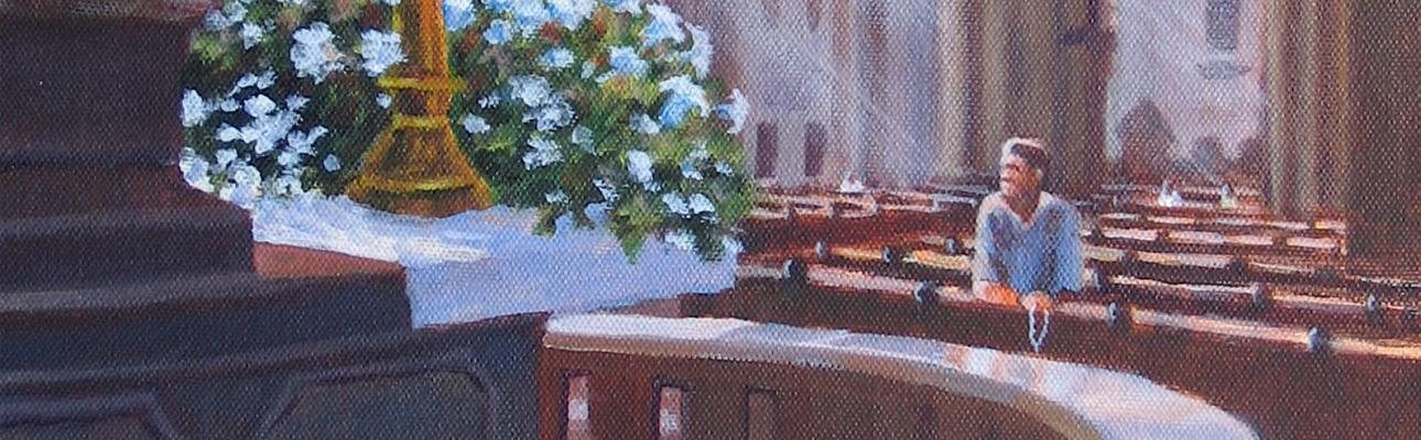 """Detail from """"Solitude in St. Stephen's Cathedral, Vienna"""" by Connie Halliwell."""