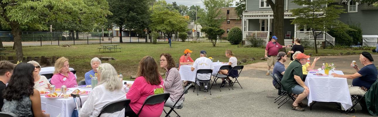 St. Stephen's hosts a neighborhood cookout four days after Hurricane Ida caused extensive damage in Millburn.
