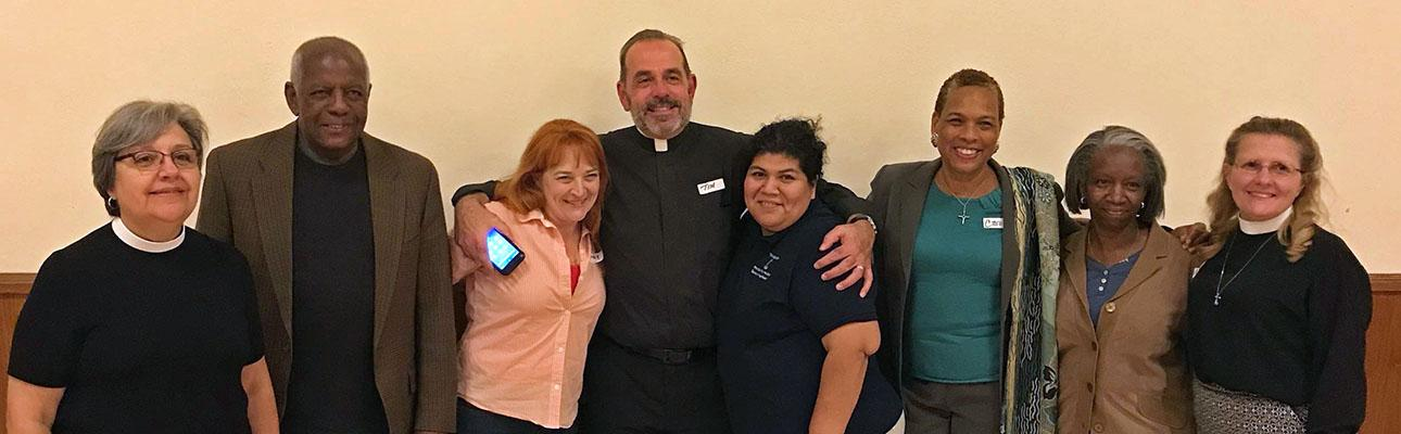Seven members of the Transition Committee (l-r): The Rev. Susan Sica, St. Gregory's, Parsippany; Robert Simmons, Epiphany and Christ Church, Orange; Wendy Drake-Schneider, St. Luke's, Montclair; the Rev. Tim Carr, St. John's, Boonton; Diana Gamarra, Christ Church, Harrison; Carol Harrison-Arnold, Incarnation, Jersey City (Co-Chair); Gail Barkley, Trinity & St. Phillip's Cathedral, Newark; the Rev. Audrey Hasselbrook, St. James, Upper Montclair (Co-Chair).
