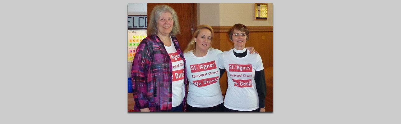 St. Agnes' Listening Excursion team members, l-r: Michelle Borden, Nancy MacDonald and Deacon Deborah Drake. Not pictured: Amy Allen.