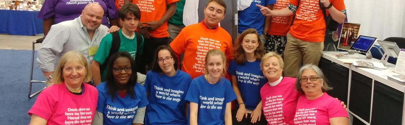 Diocesan youth in the exhibit hall at General Convention.