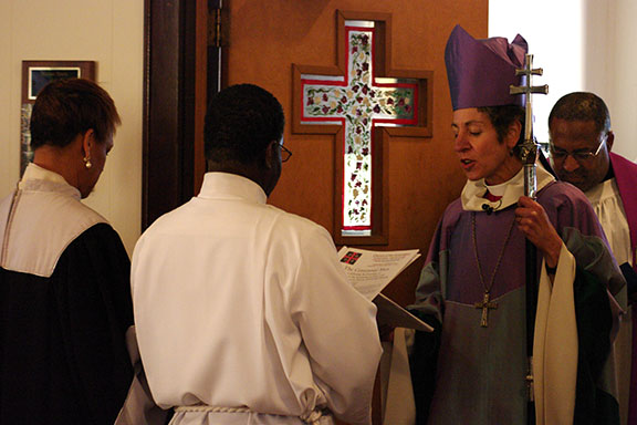 Incarnation's wardens and former priest-in-charge welcome the Presiding Bishop.