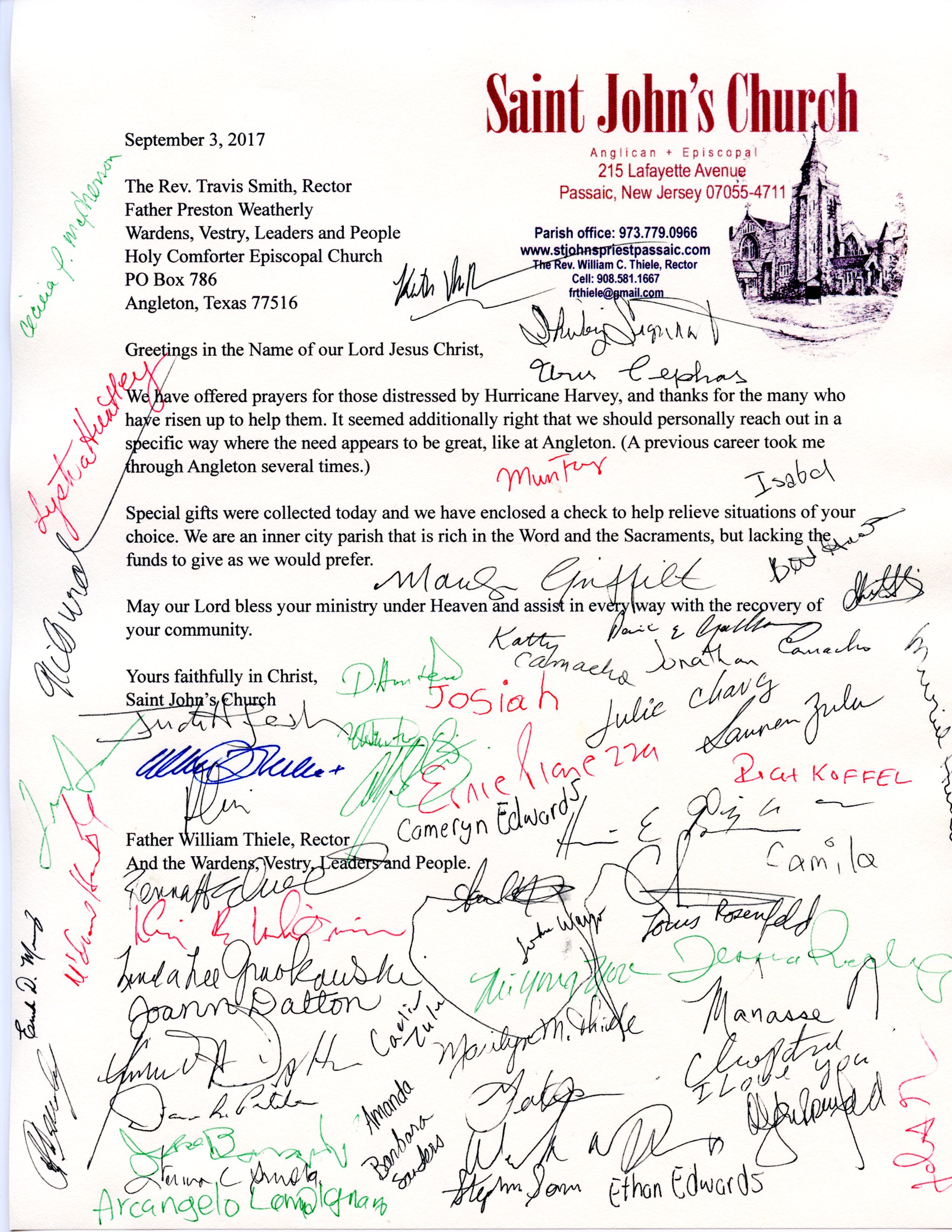 Letter from St. John's Passaic signed by about 60 members.