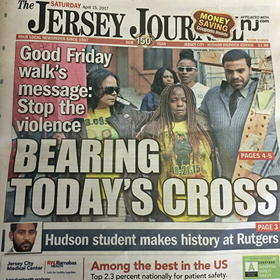 Front cover of the Jersey Journal, April 15, 2017.