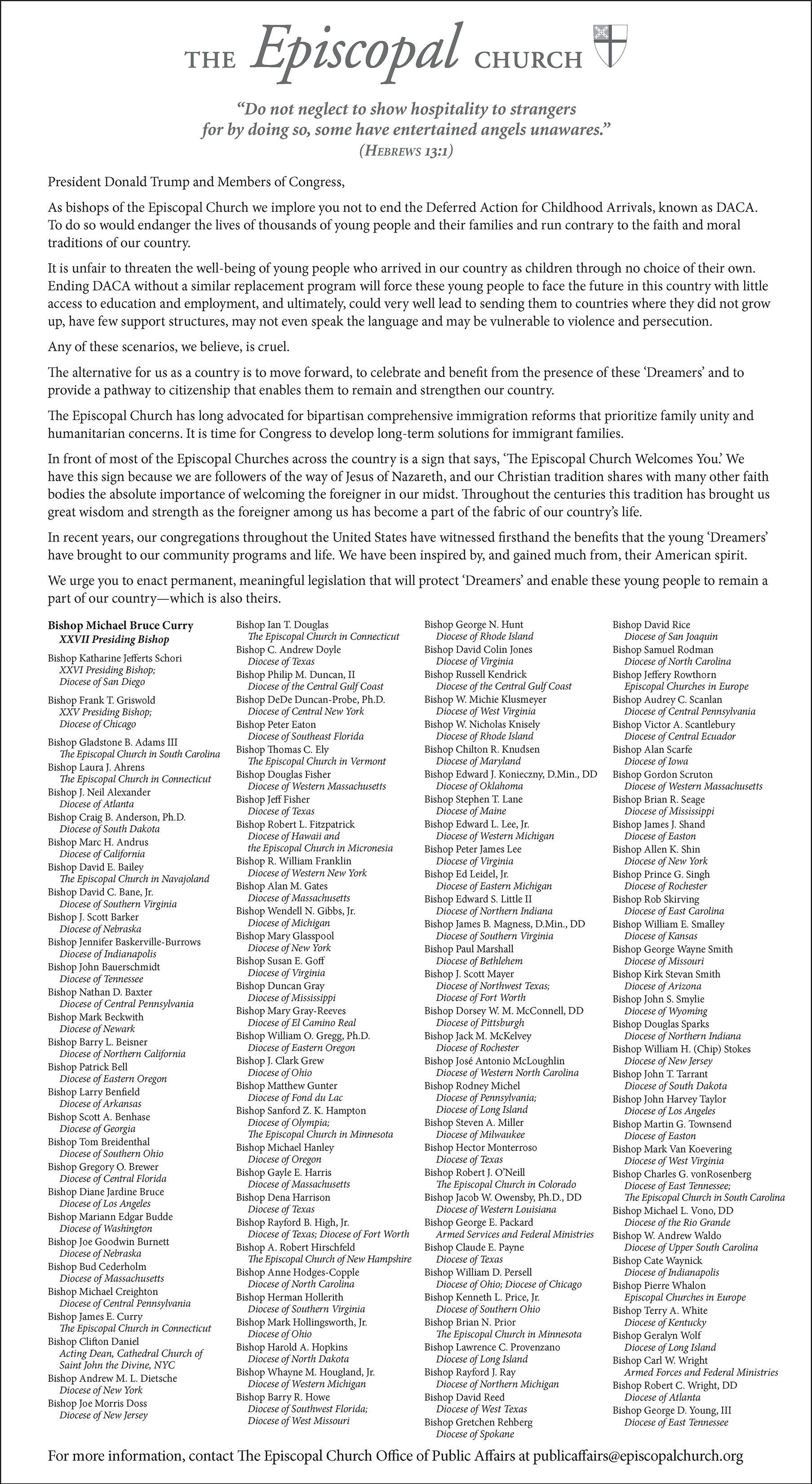 Letter from Episcopal Bishops to President, Congess