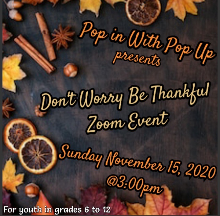 """Don't worry be thankful"" Pop Up Youth event"